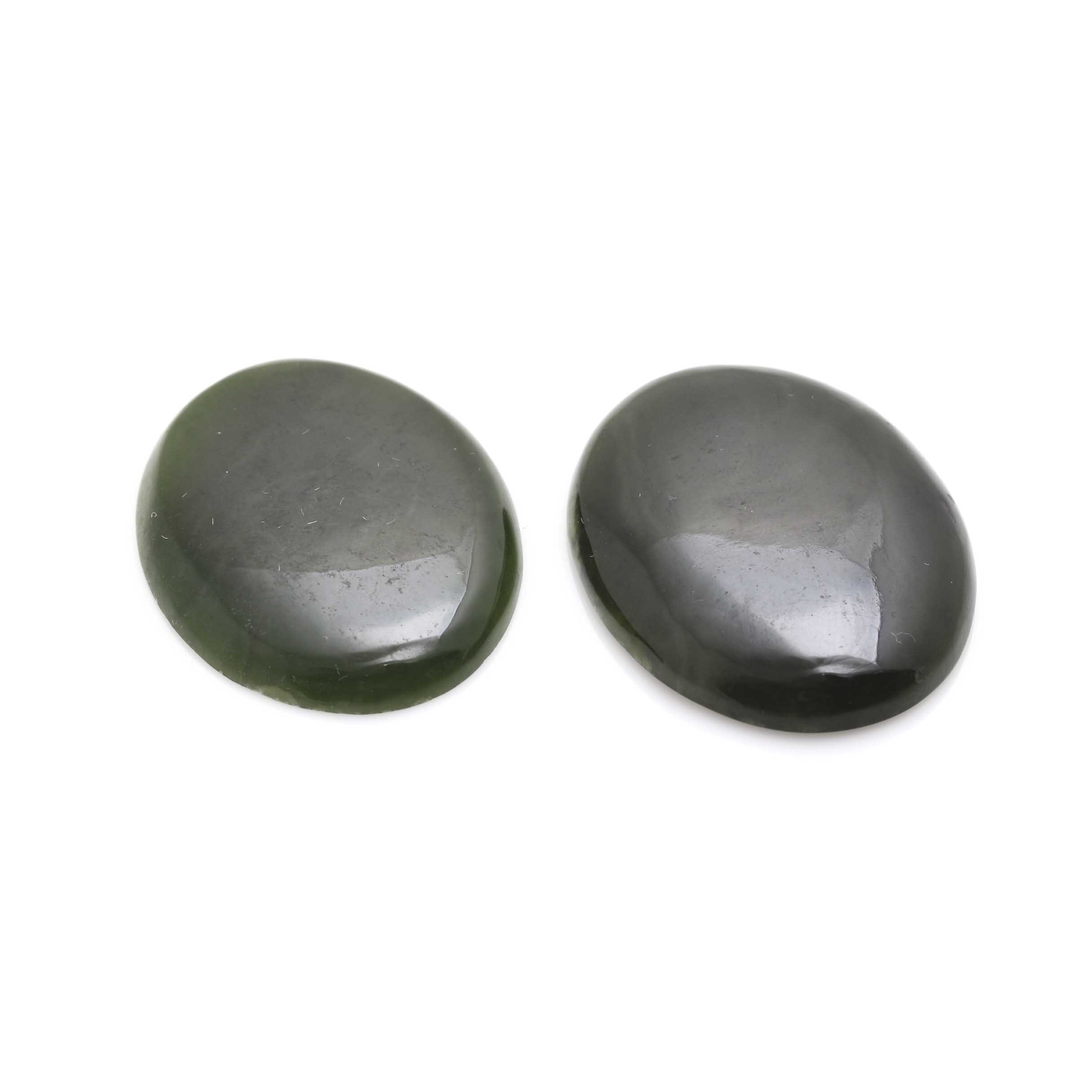 Two Loose Oval Nephrite Cabochons