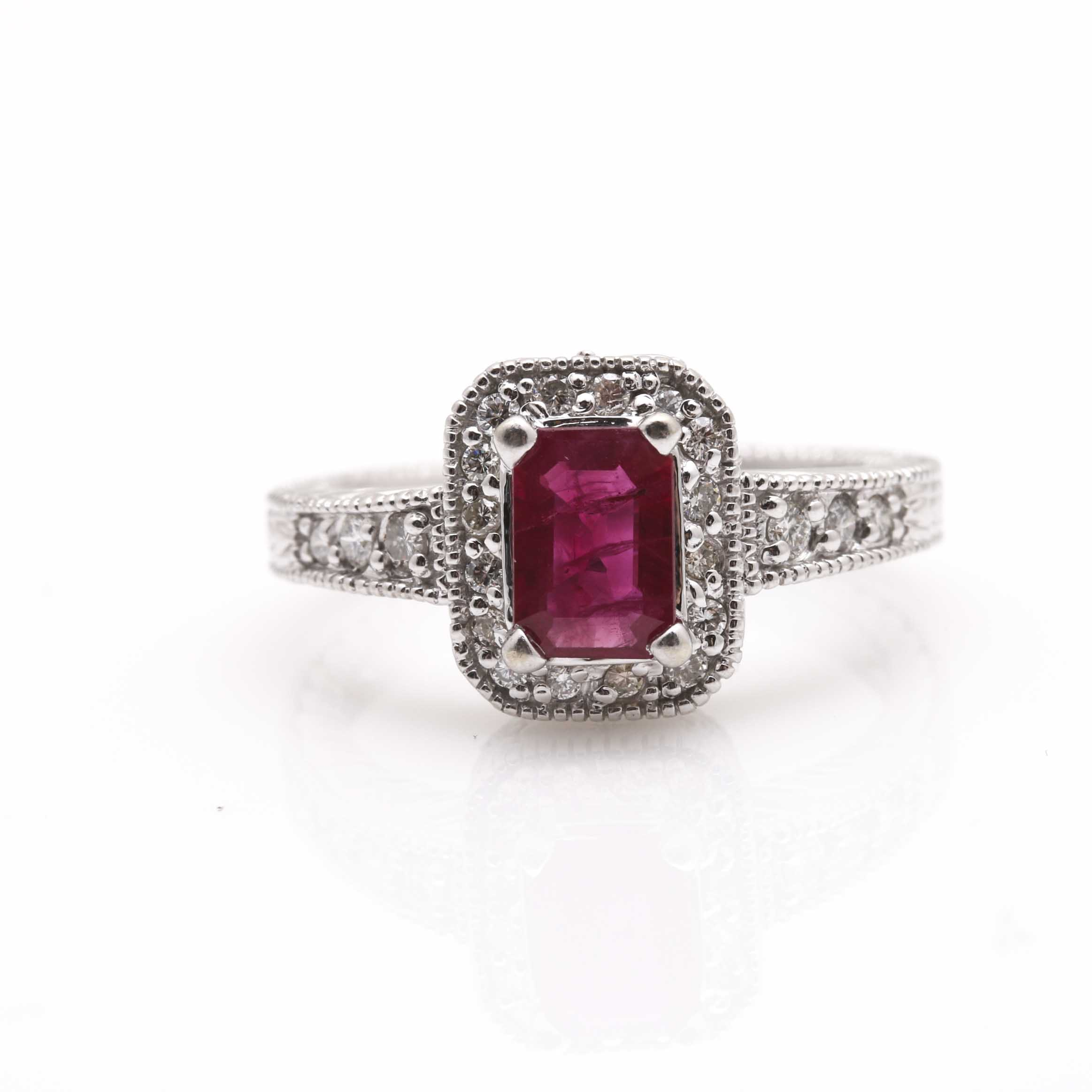 14k white gold ruby and ring ebth