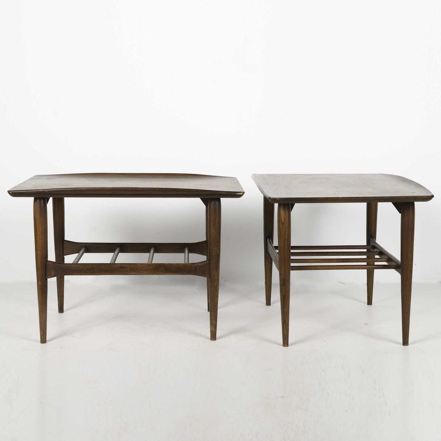 Bassett Tables: Mid Century Modern Bassett Furniture Walnut Surfboard Side