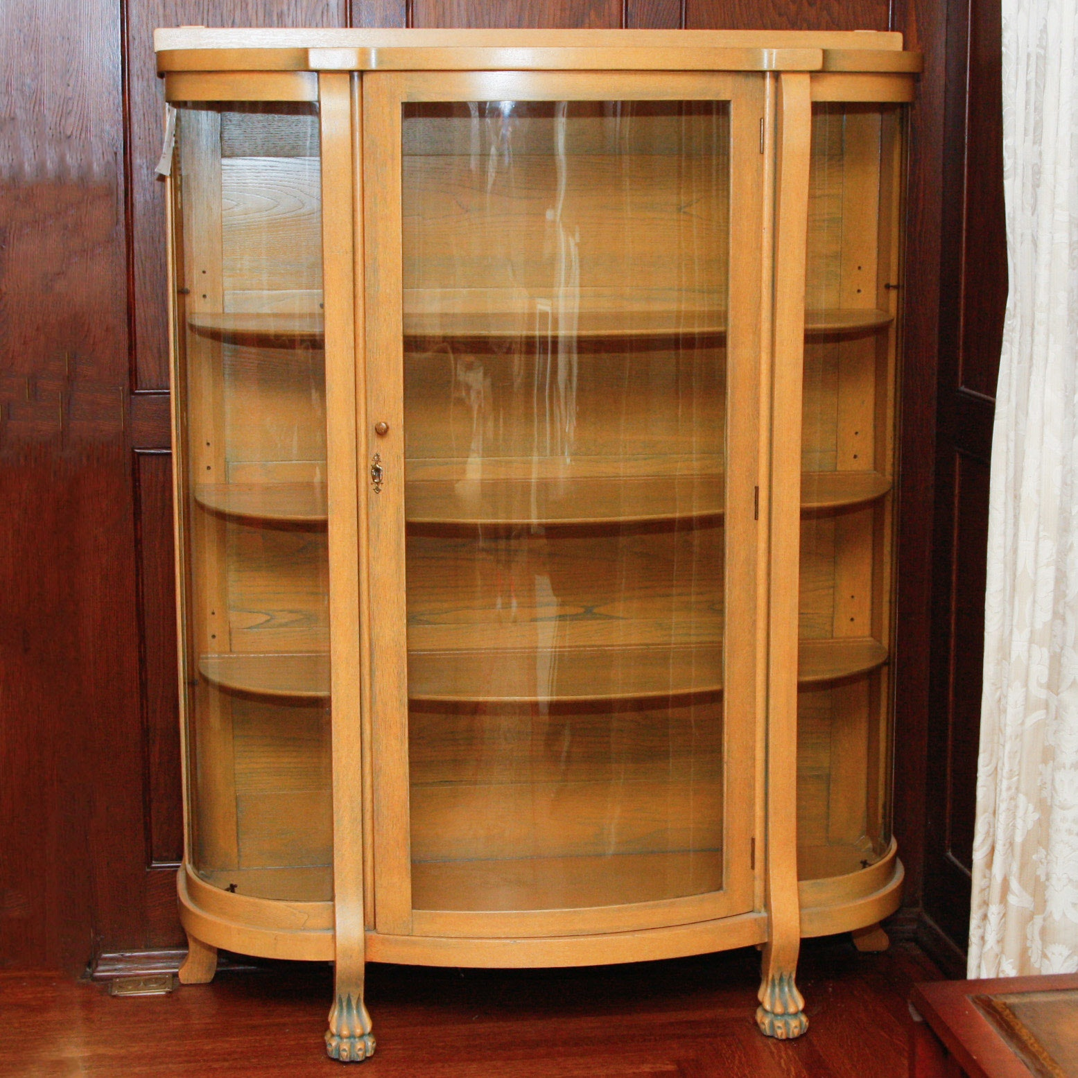 Antique Oak Curio Cabinet With Curved Glass Front ...