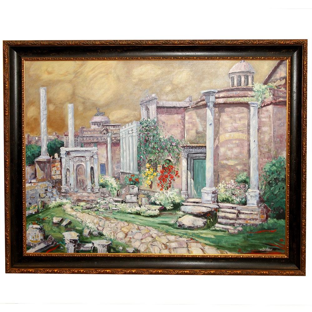 """Soo Cha Griffith Original Oil """"Roman Decline"""""""