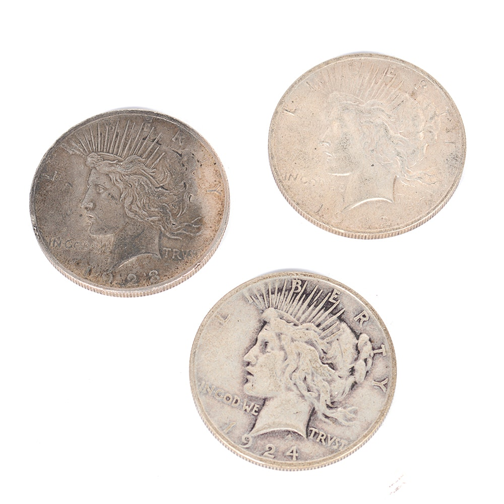 Three Silver Peace Dollars