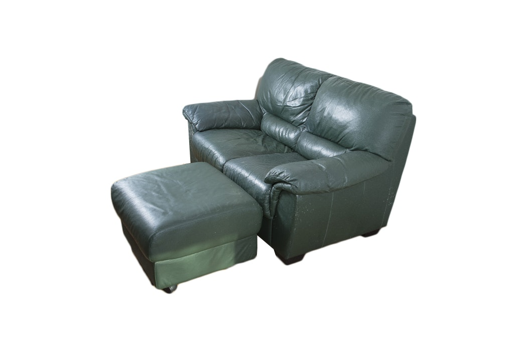 Dark Green Leather Loveseat And Ottoman