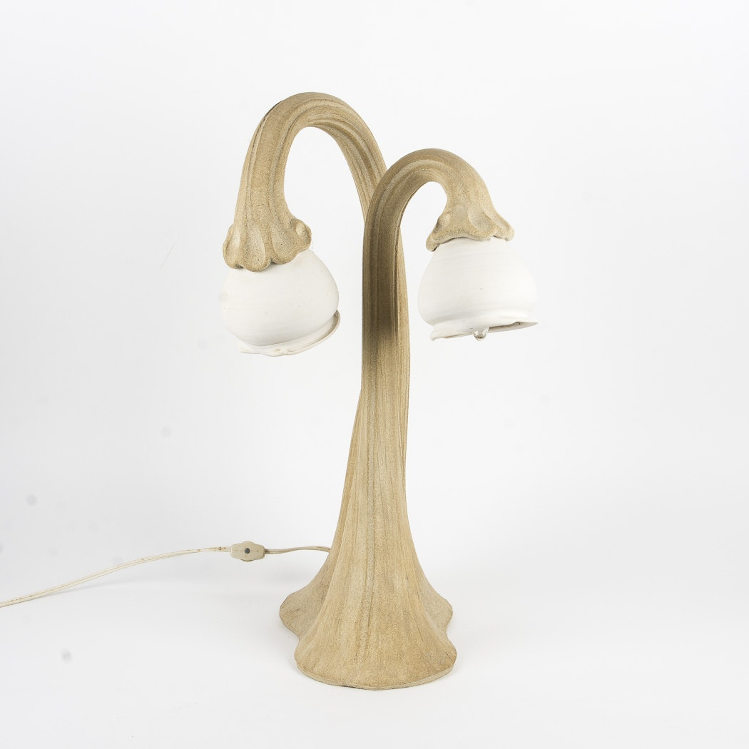 Tree/Plant Form Ceramic Table Lamp Signed In Mold