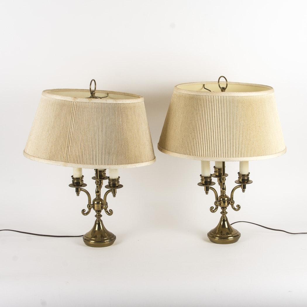Vintage Levitron Brass Tone Bouillotte Style Table Lamps