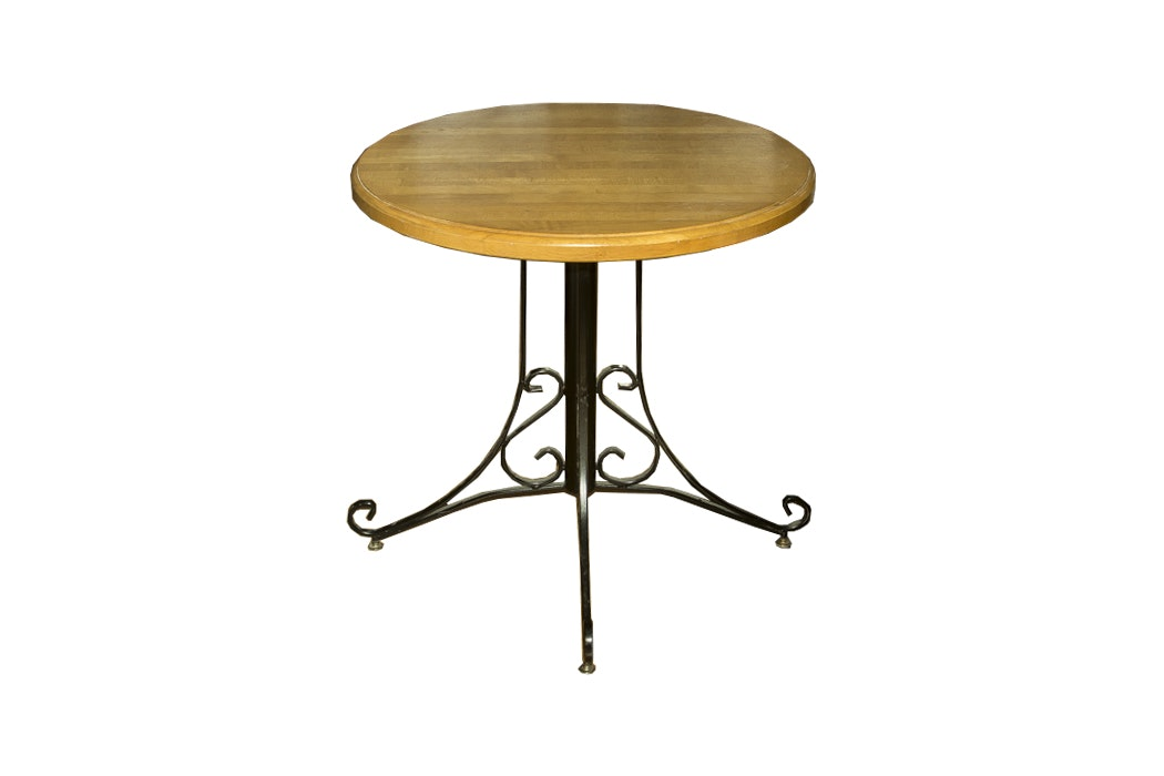 Oak Accent Table with Wrought Iron Legs