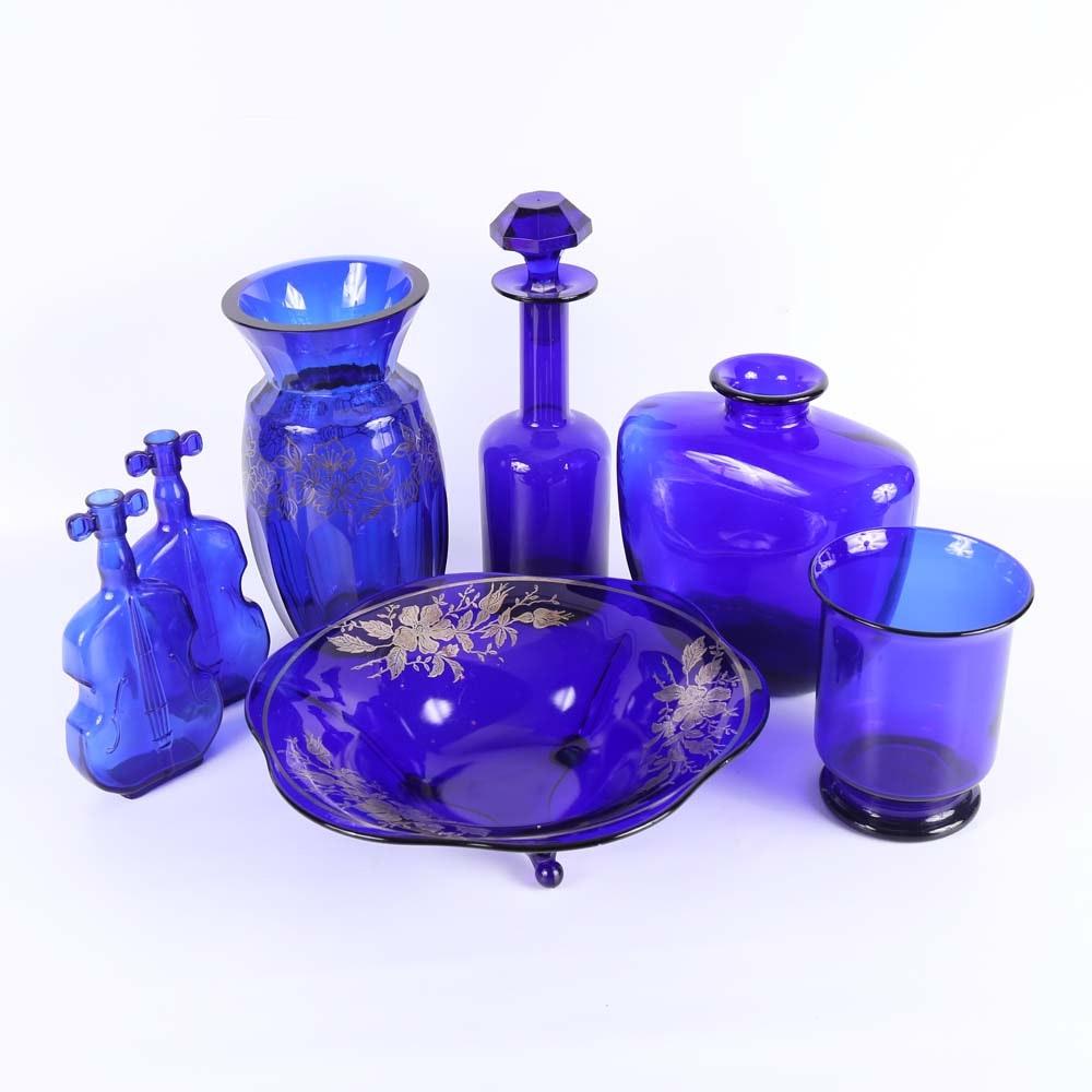 Assortment of Cobalt Glass