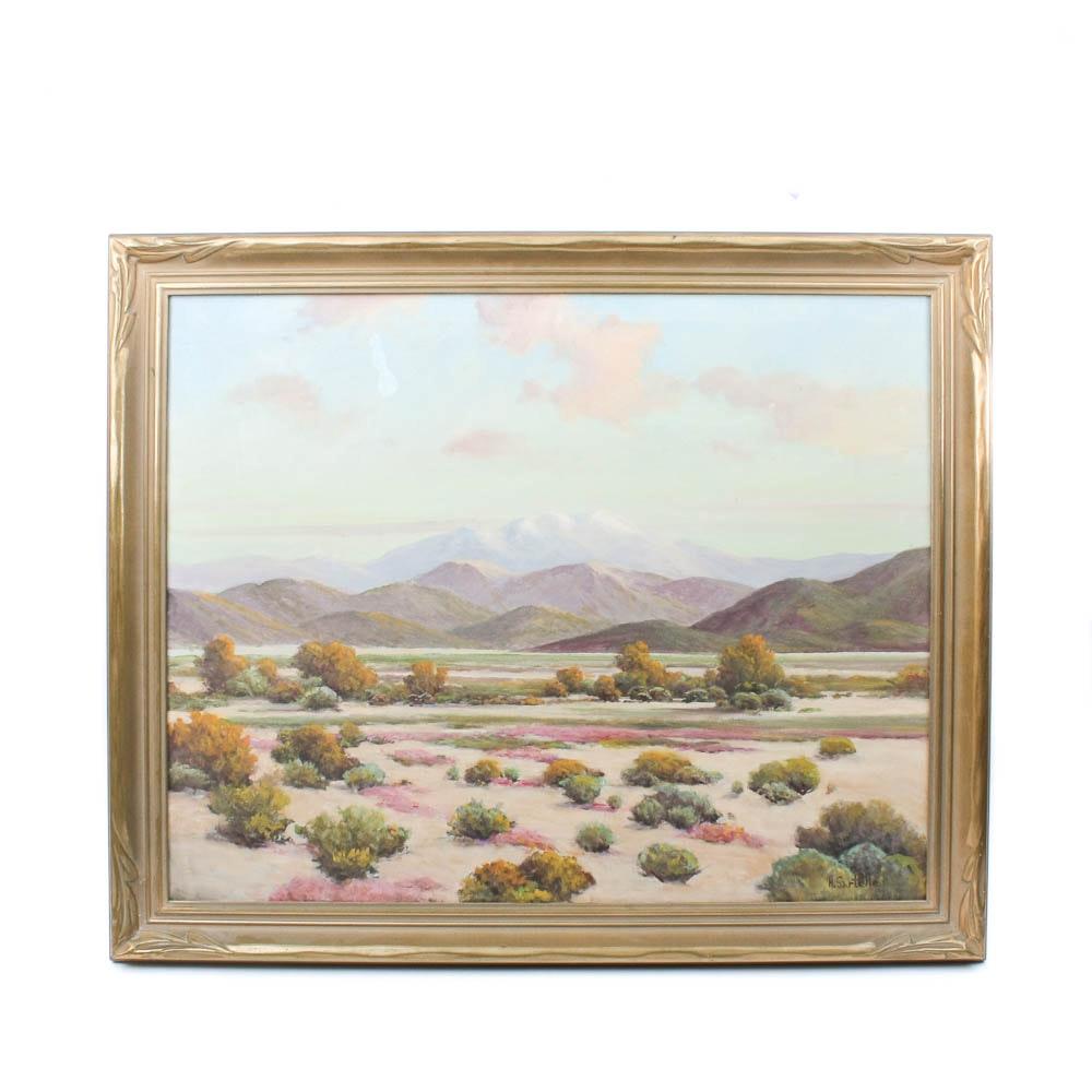 Herbert Sartelle Original Oil on Canvas Desert Mountain Landscape