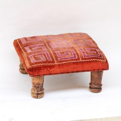 Vintage Footstool with Greek Key Upholstery