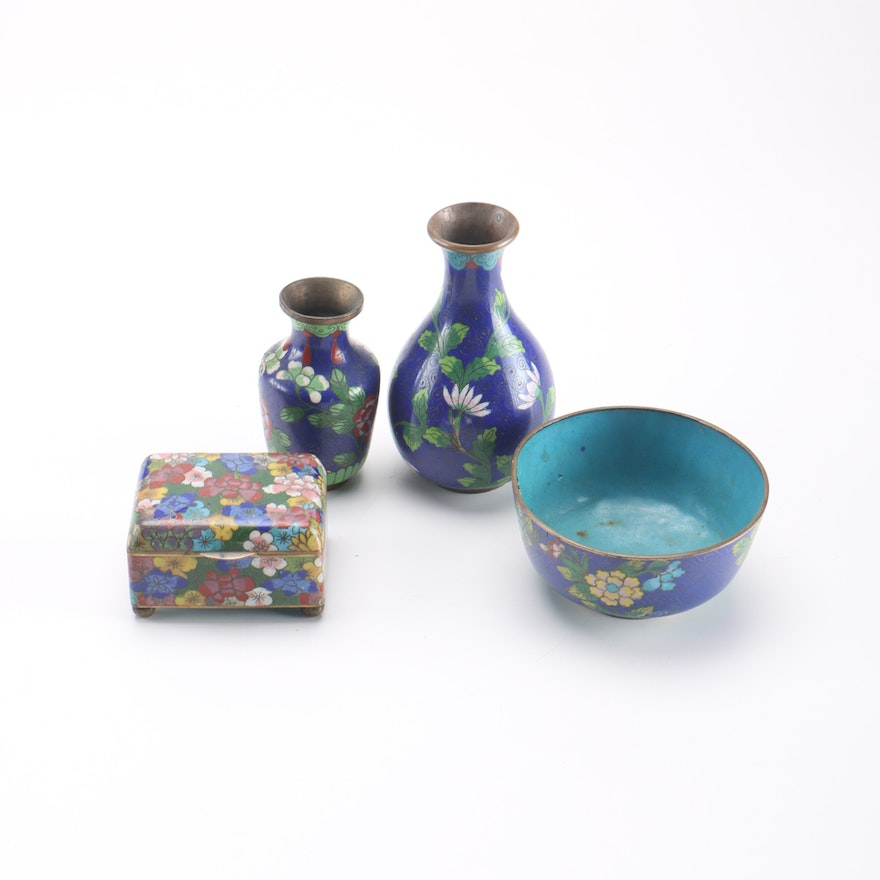 hand painted chinese cloisonn decor and dishes ebth. Black Bedroom Furniture Sets. Home Design Ideas