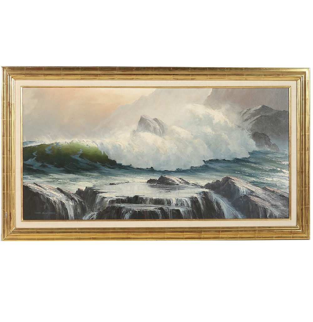 "Ronald Moreton Oil Painting on Board ""Pounding Surf"""