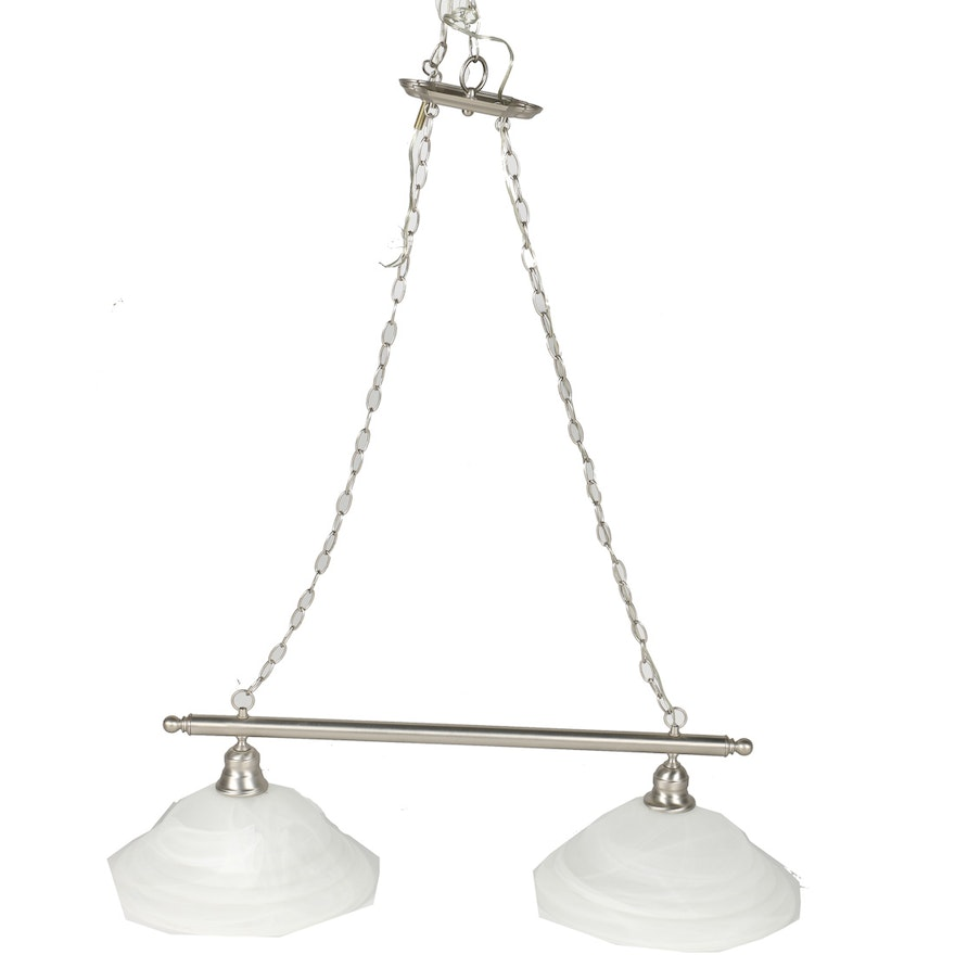 Chrome Toned Rod and Chain Hanging Light Fixture with Shades : EBTH