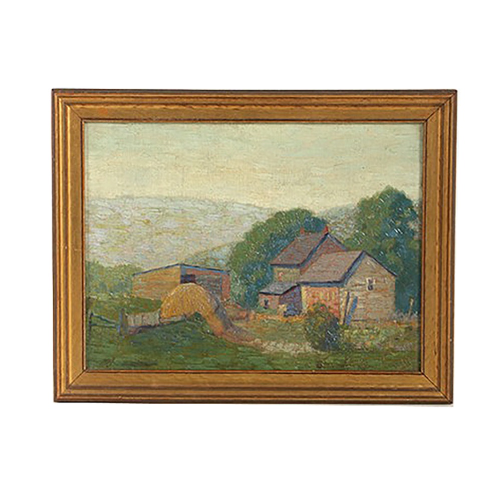 Original Oil Painting on Canvas Board Farm Scene