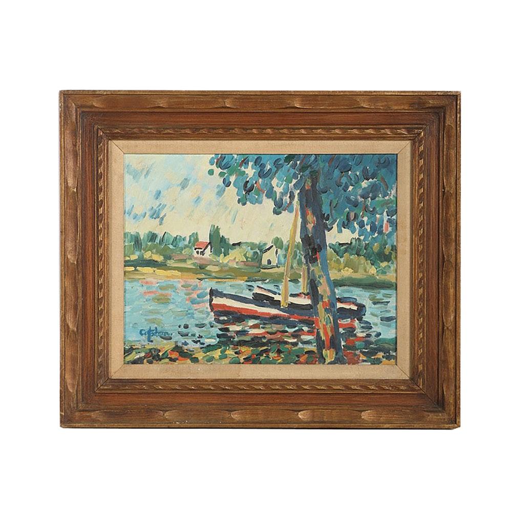 "Oil Painting on Canvas ""Bateau"""