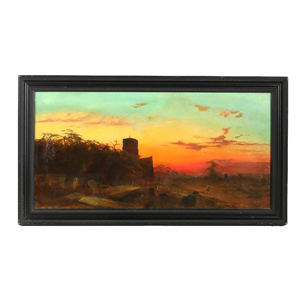 "W. J. Rolfe Original Oil Painting on Canvas ""The Evening.."""