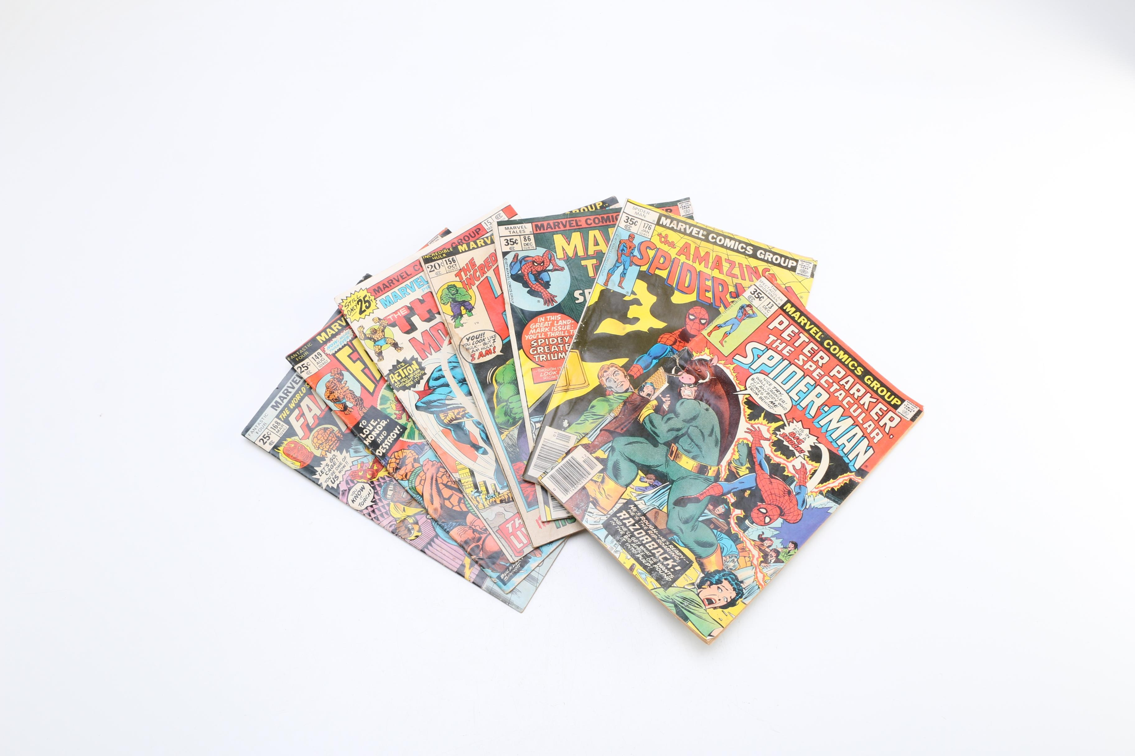 1970s Marvel Comics Featuring Spider-Man and Fantastic Four