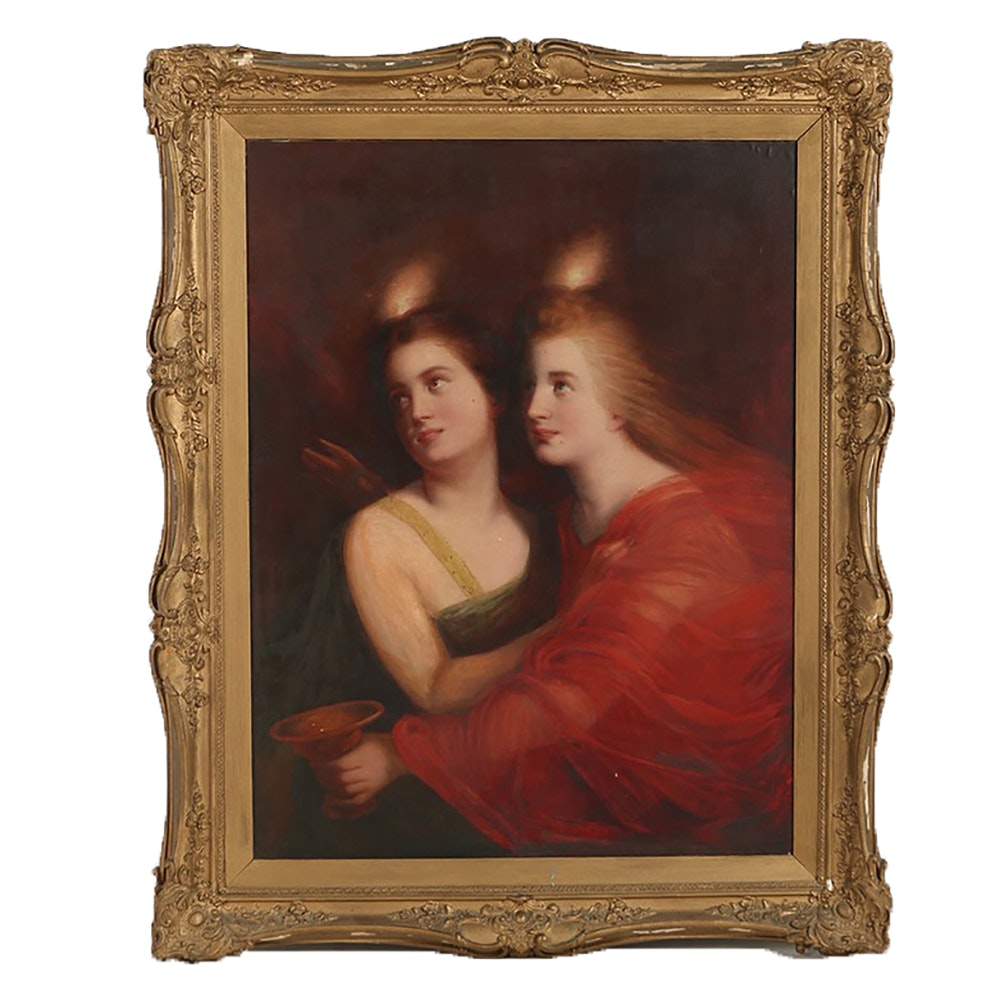 Oil Painting on Canvas Affixed to Board of Two Women