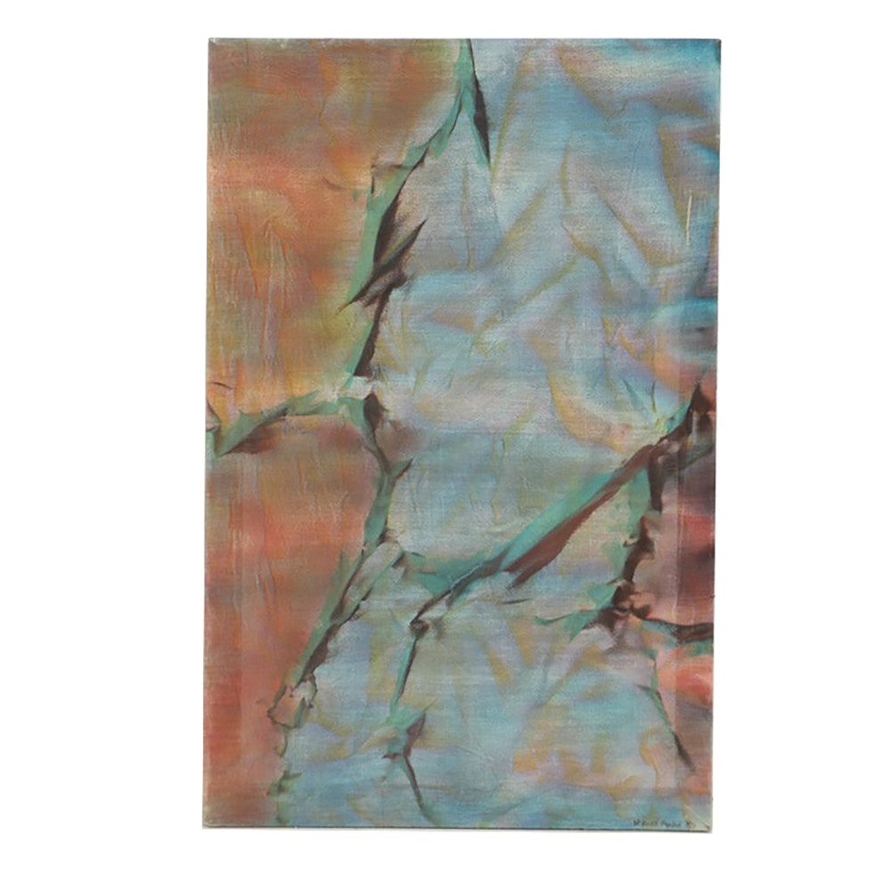 Watercolor Painting on Loose Weave Canvas Abstract Scene