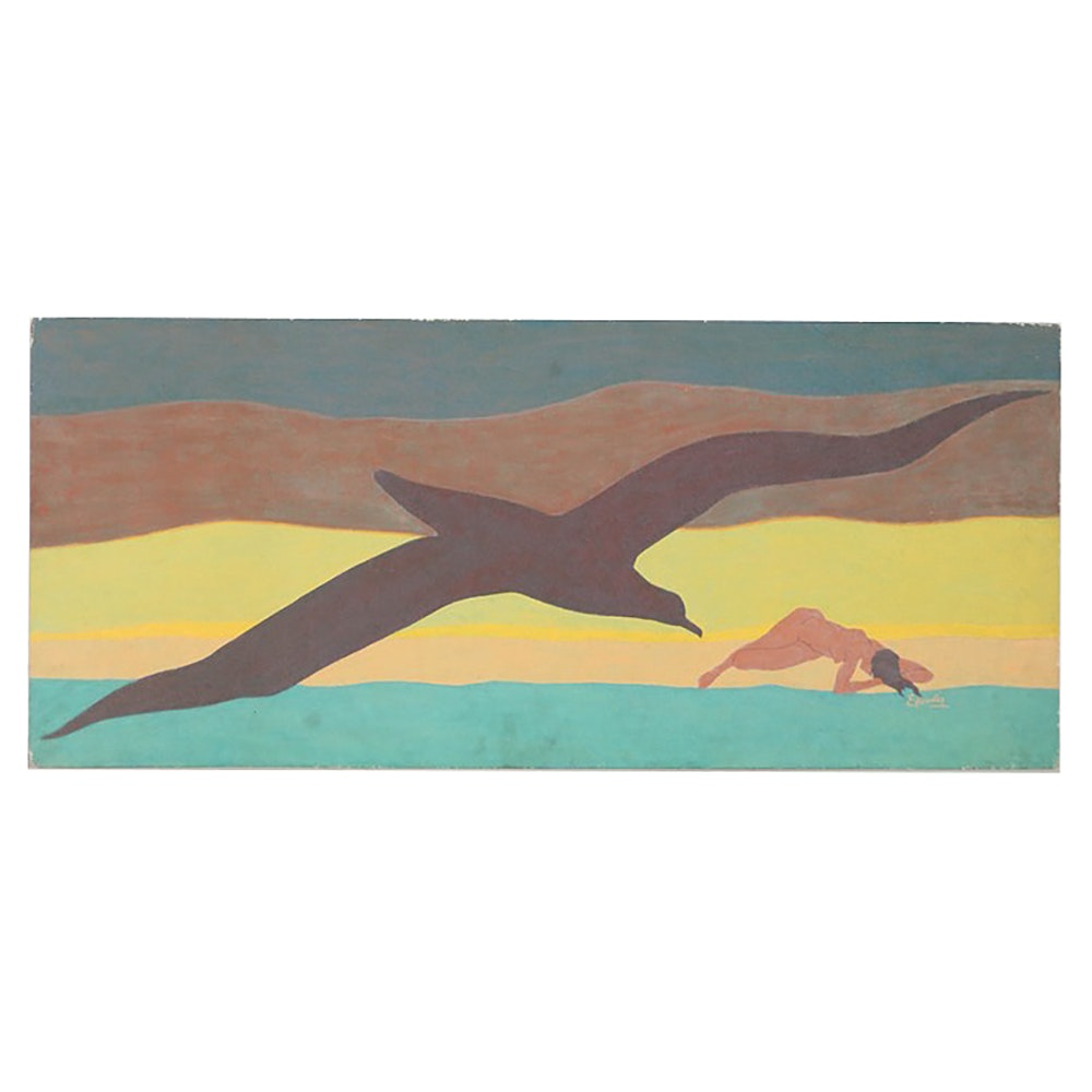 "Raphael Ellender Oil Painting on Board ""The Albatross"""