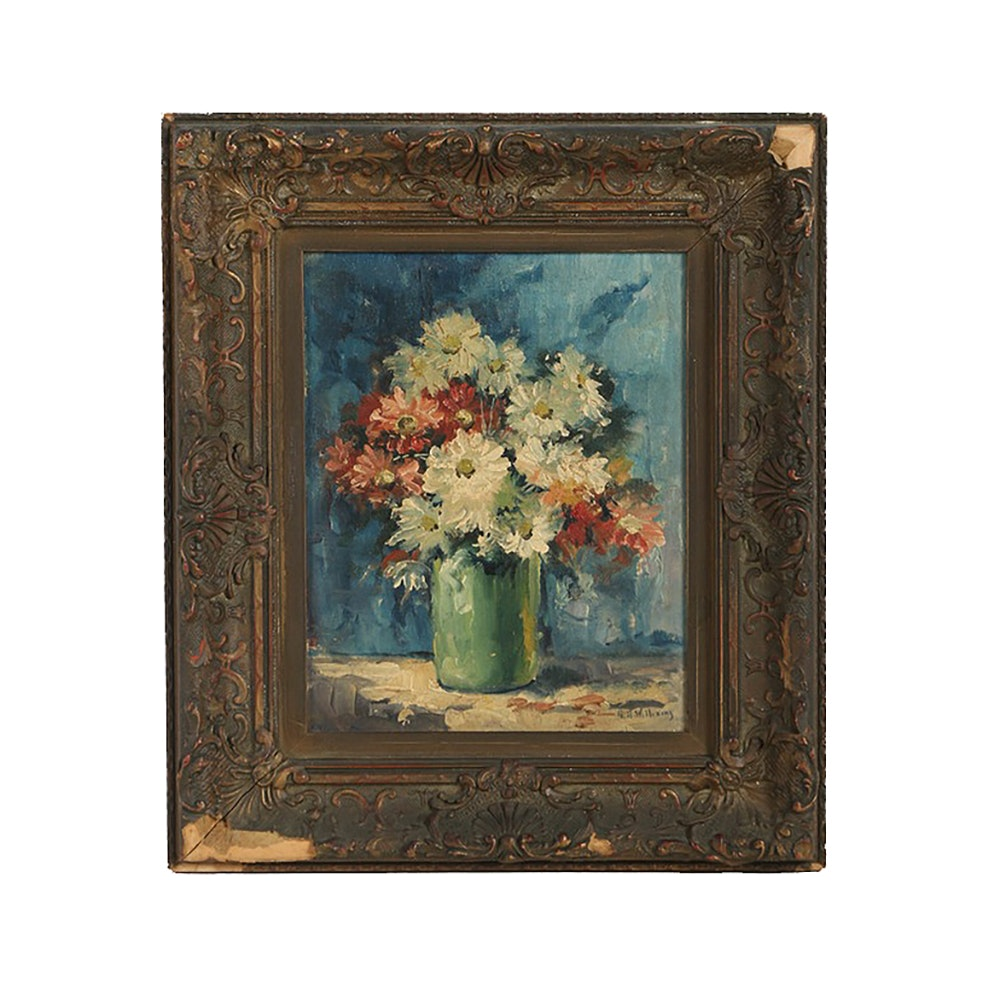 G. H. Williams Oil Painting on Canvas Board Floral Still Life