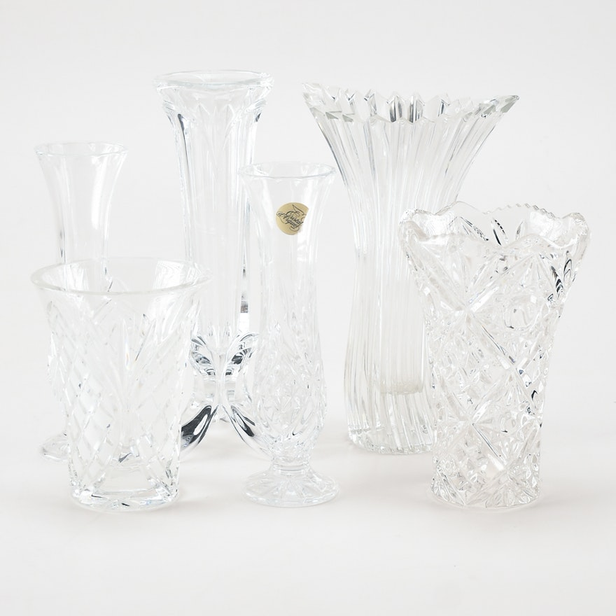 Collection Of Small Crystal Vases Ebth