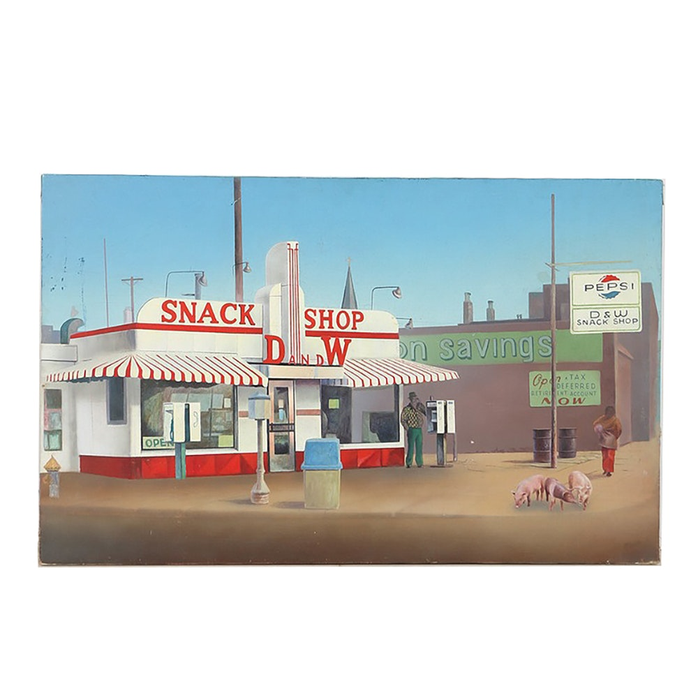 Original Oil Painting on Canvas of D and W Snack Shop
