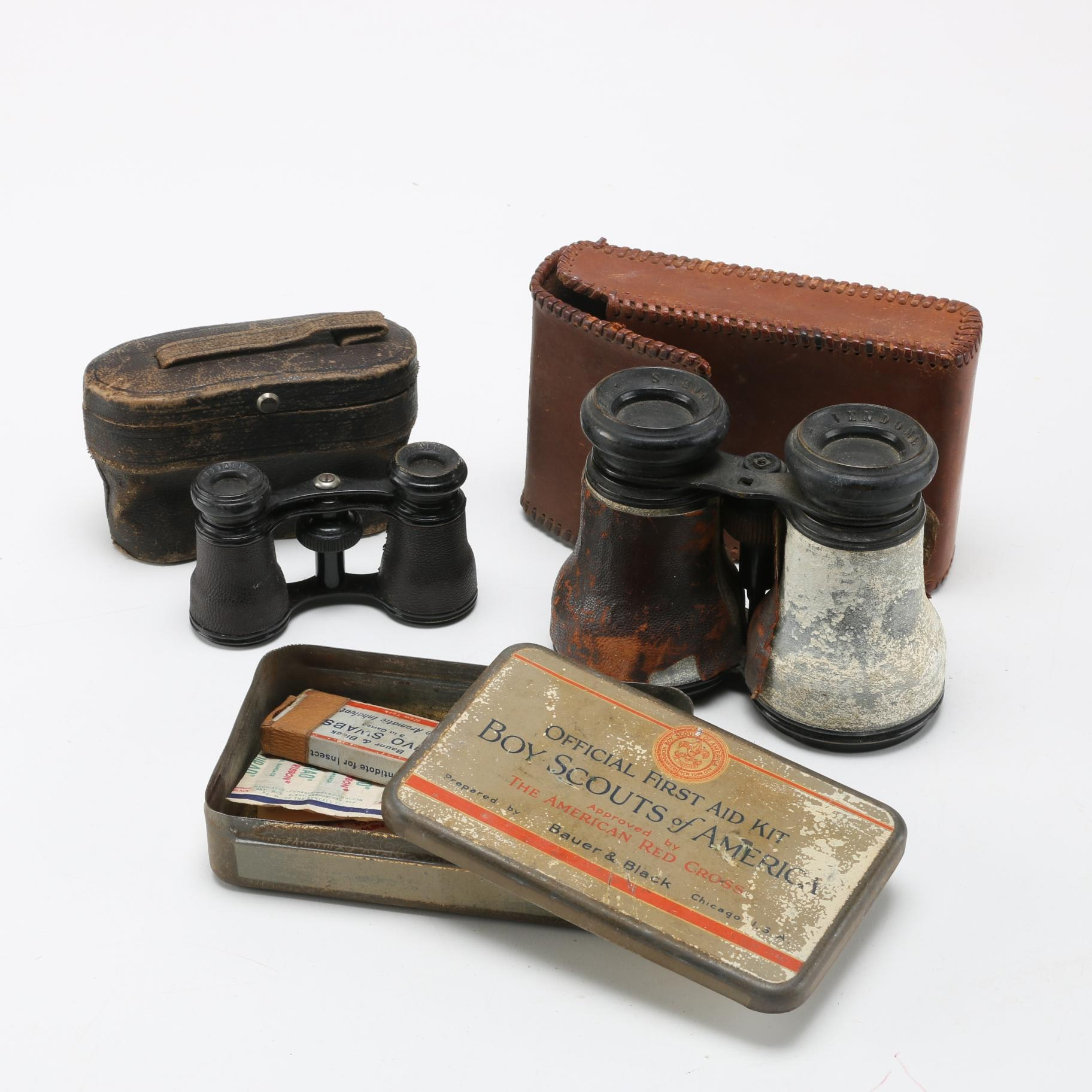 Vintage Boy Scouts First Aid Kit and Binoculars