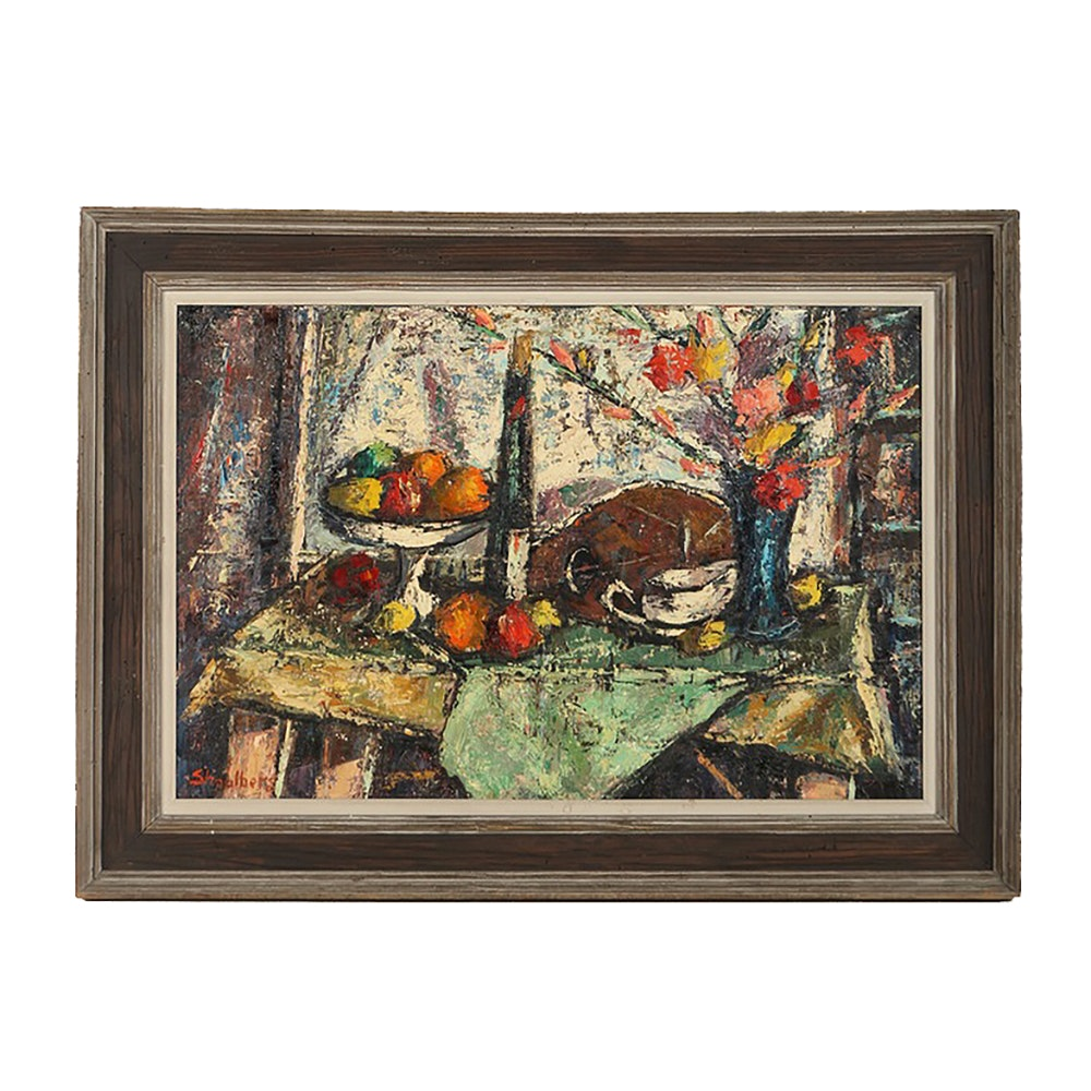 "Harry Shoulberg Original Oil Painting ""Still Life with Flowers"""