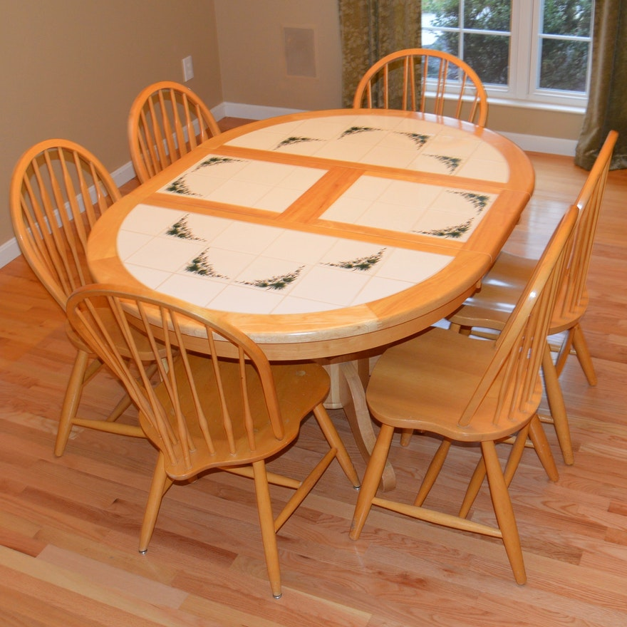 Tile And Wood Dining Table With Six Chairs