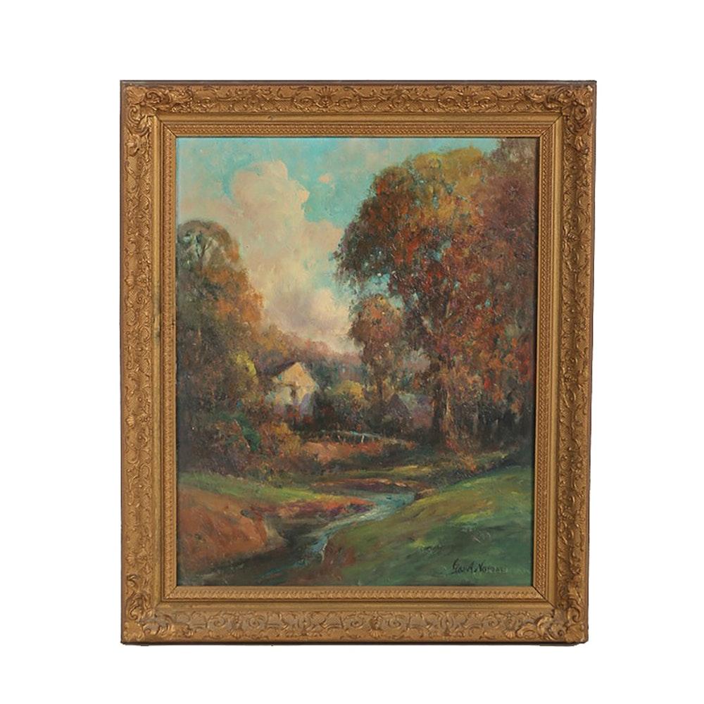 "George A. Newman Oil on Canvas ""Autumn Landscape"""