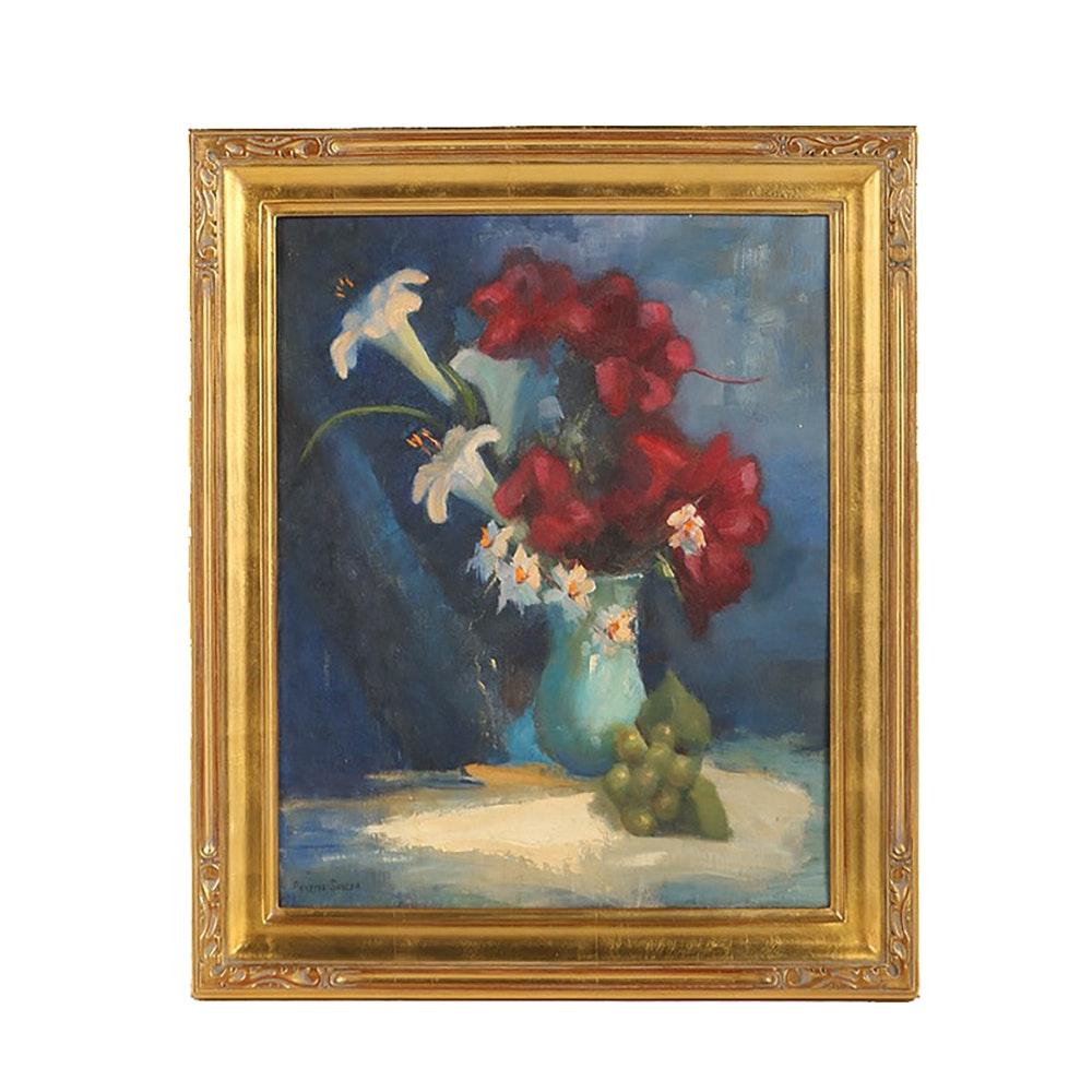 Annette Sayler Oil Painting on Board Floral Still Life