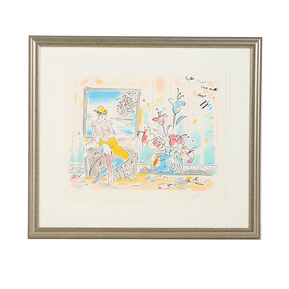 "Peter Max Limited Edition Lithograph on Paper ""Zero and Flowers"""
