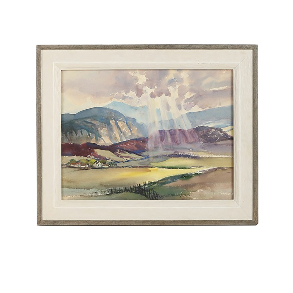 J. Scott Williams Watercolor Painting on Paper Landscape