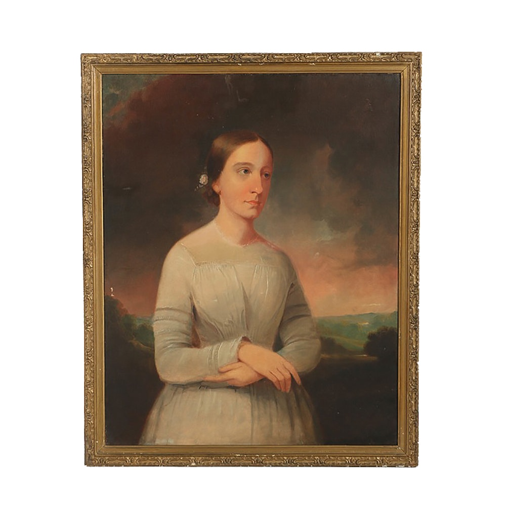 Oil Painting on Canvas Portrait of a Young Woman