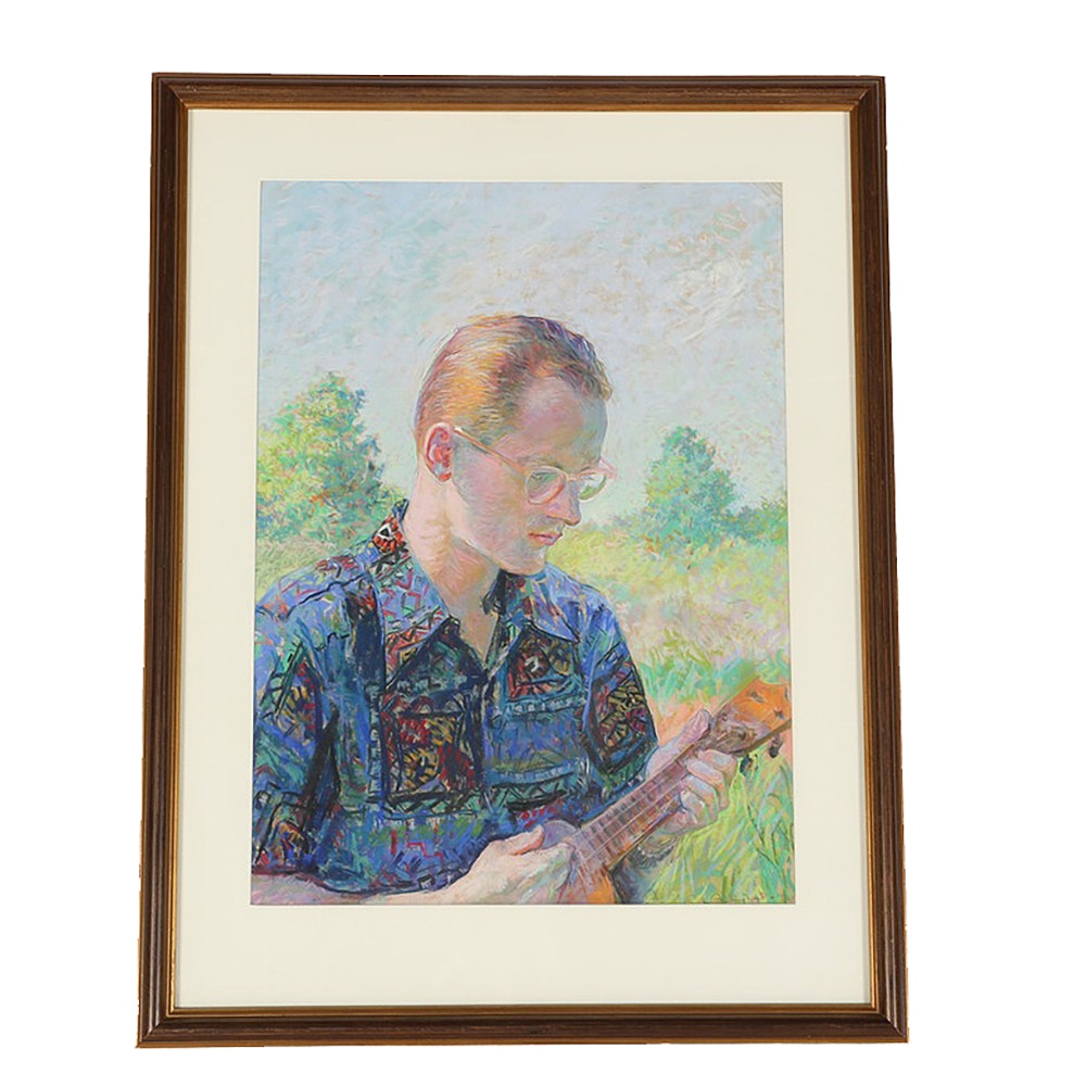 Emily Burling Waite Pastel on Paper Portrait of Lemuel Manchester