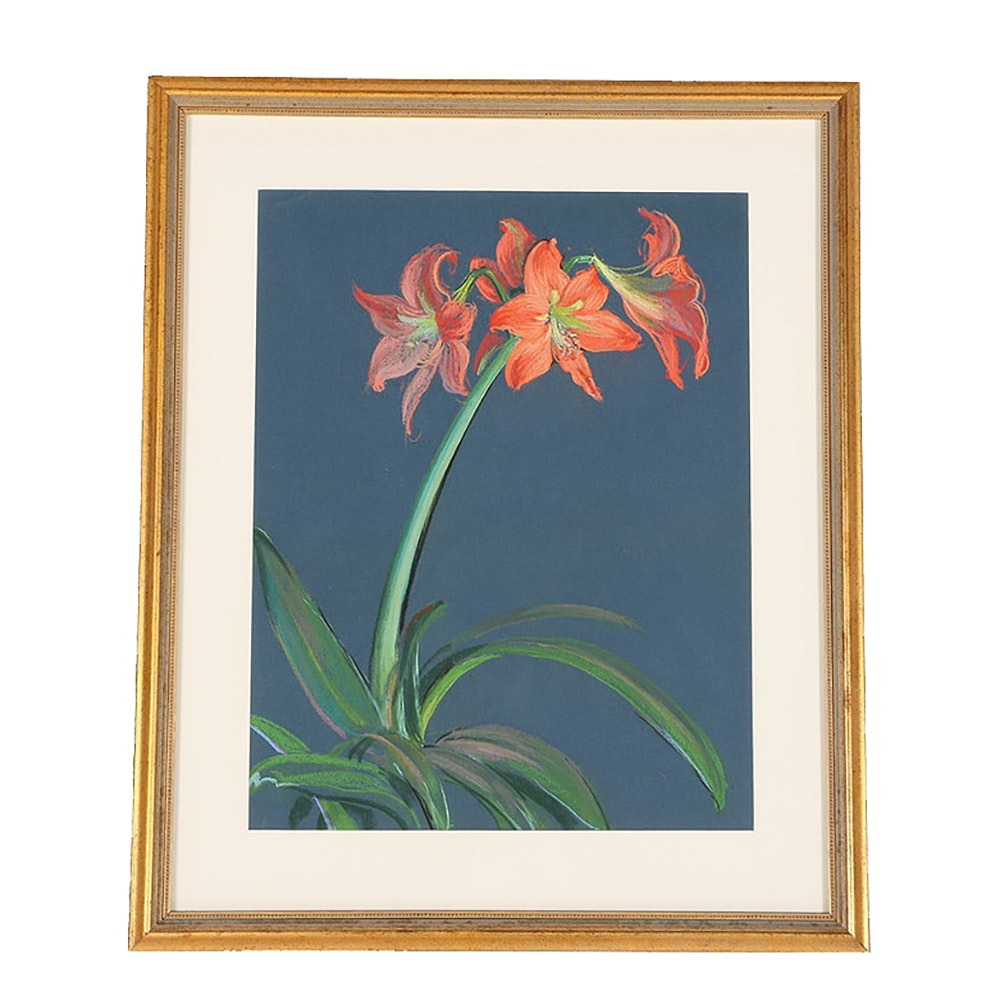 Emily B. Waite Oil Pastel Drawing on Paper Floral Still Life