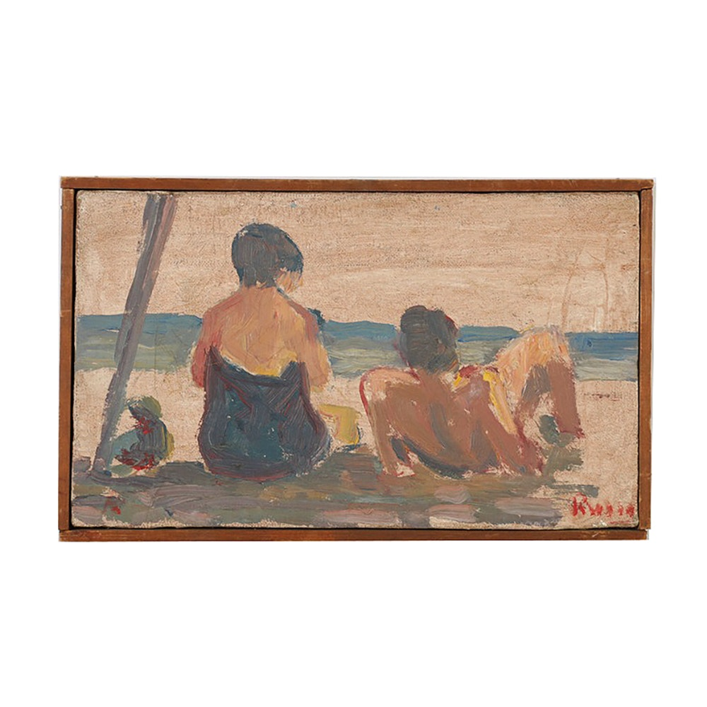 Raul Russo Original Oil Painting on Canvas Beach Scene