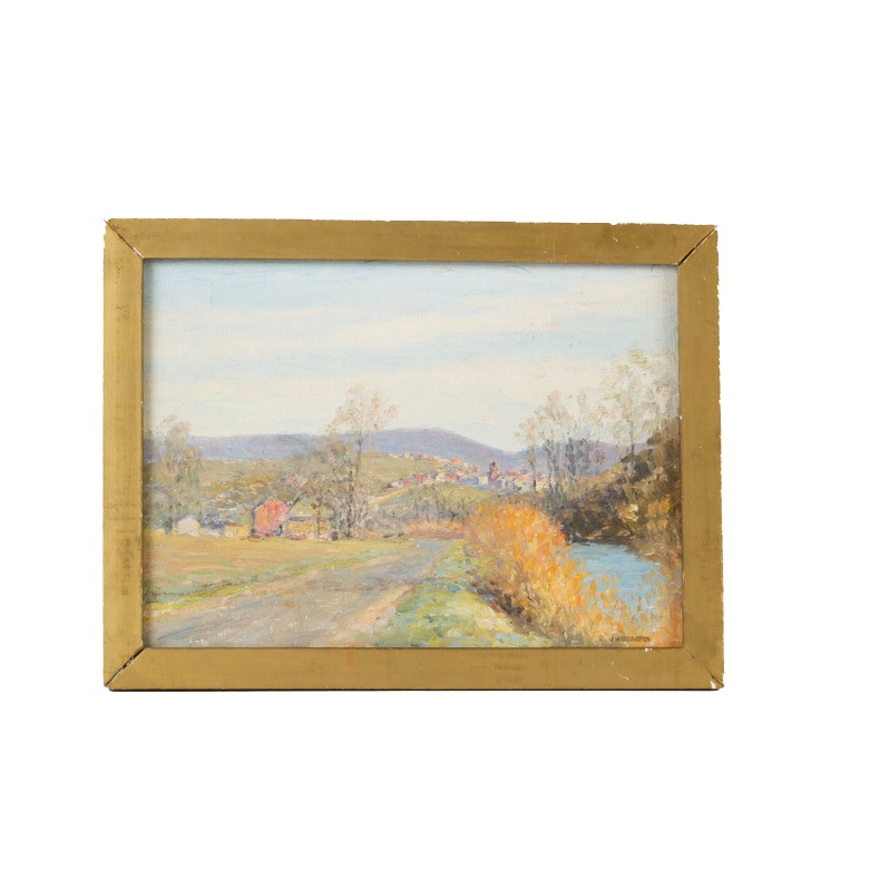 J. Wellington Oil Painting of Landscape