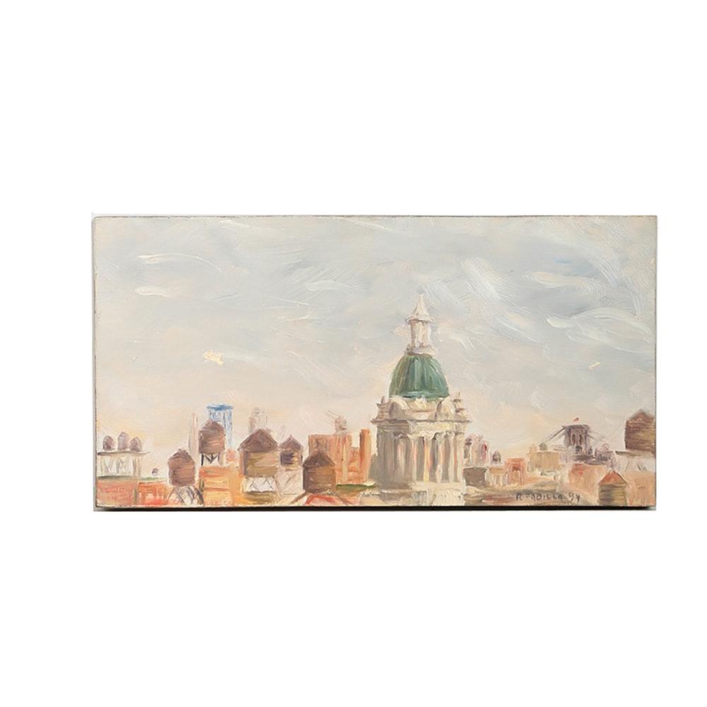 R. Padilla Original Oil Painting on Wood Block Cityscape