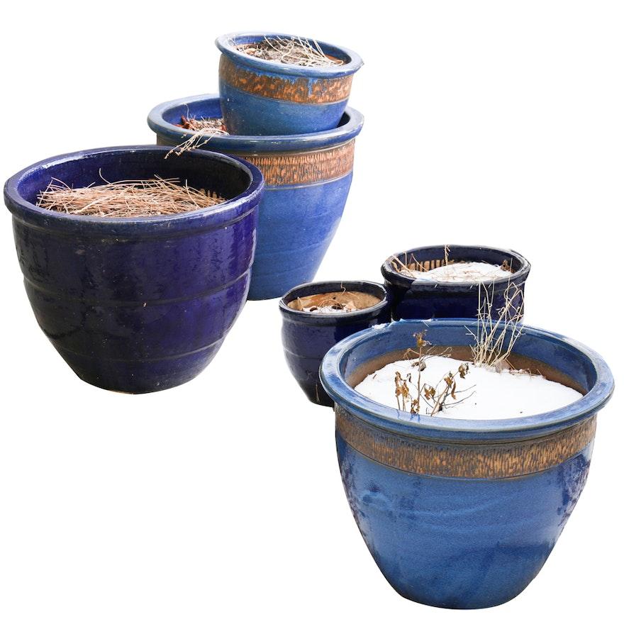 Collection Of Six Blue Ceramic Planter Pots