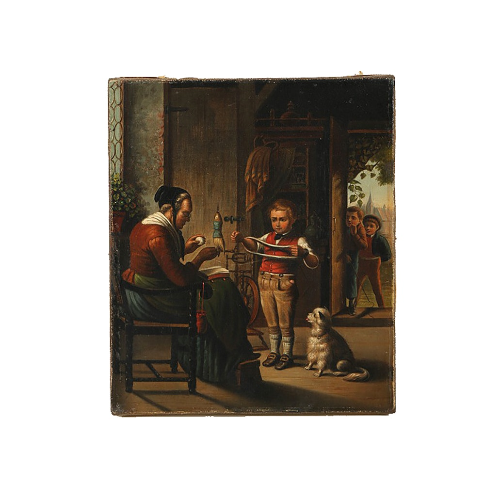 Oil Painting on Canvas Interior Genre Scene
