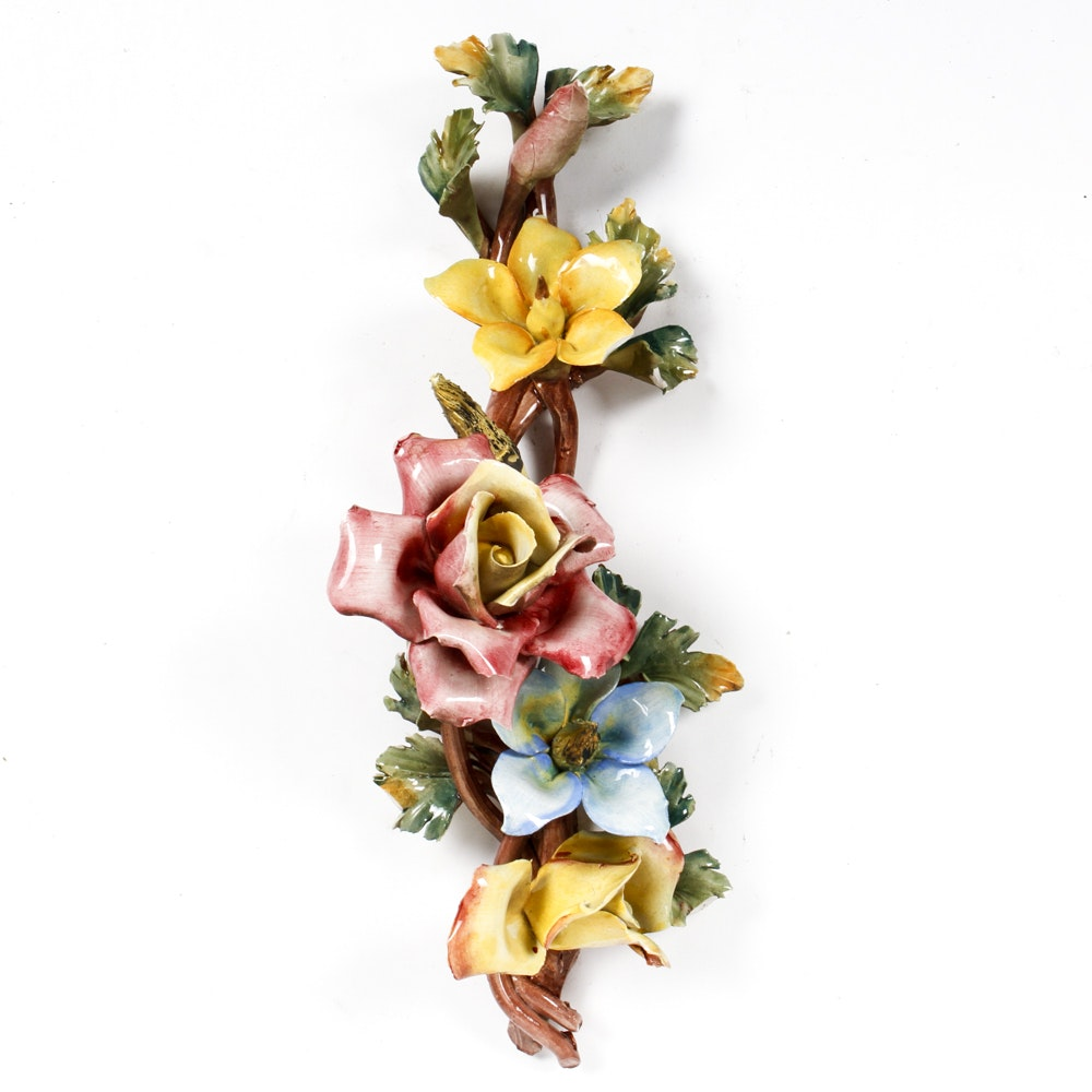 Capodimonte Porcelain Floral Wall Hanging