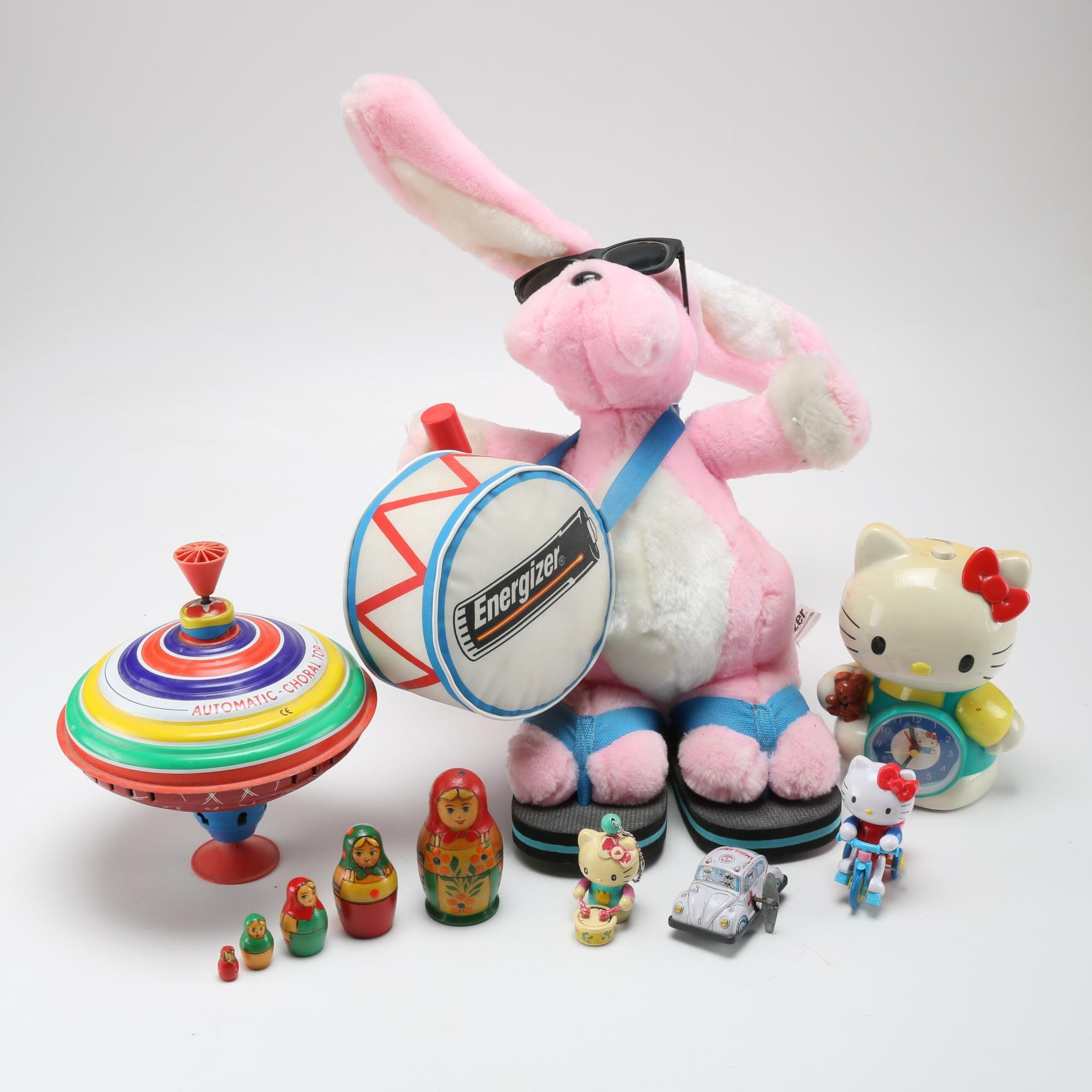 Toys Including Hello Kitty and Vintage Tin Toys