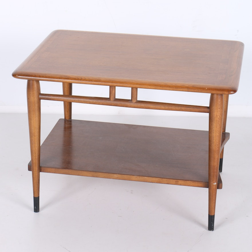 Lane Mid Century Oak And Walnut Dovetail Side Table EBTH - Mid century oak coffee table