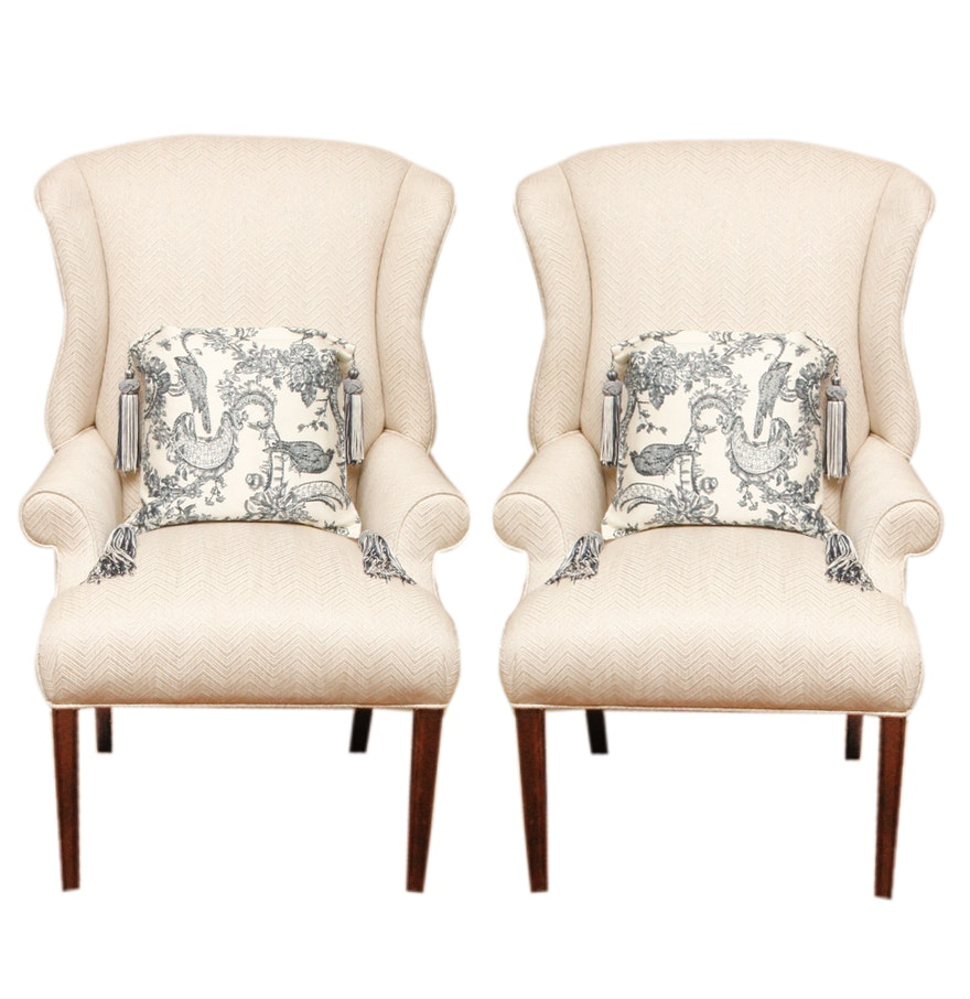 Pair of Ethan Allen Armchairs with Decorative Throw Pillows : EBTH