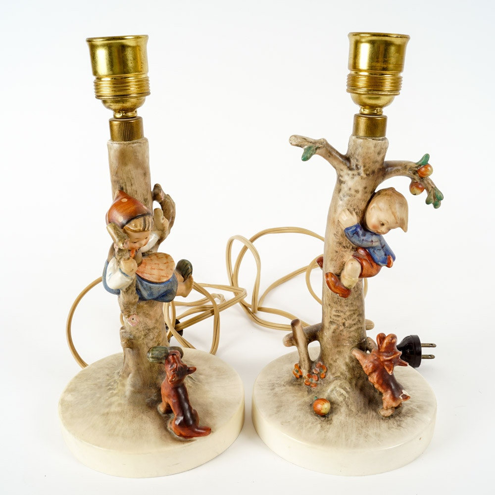 Amazing Pair Of Hummel Figurine Lamps ...