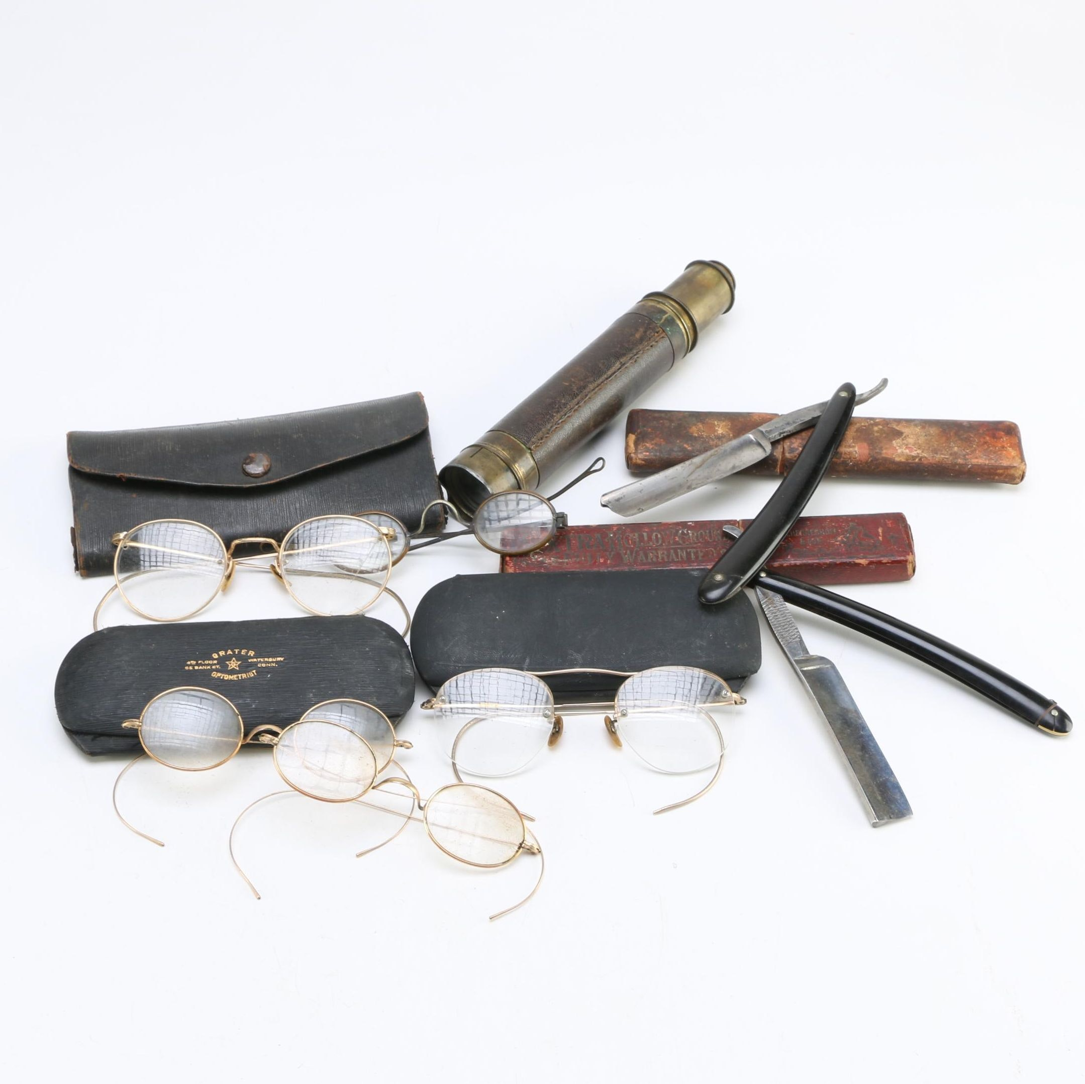 Collection of Antique Glasses, Telescope and Blades