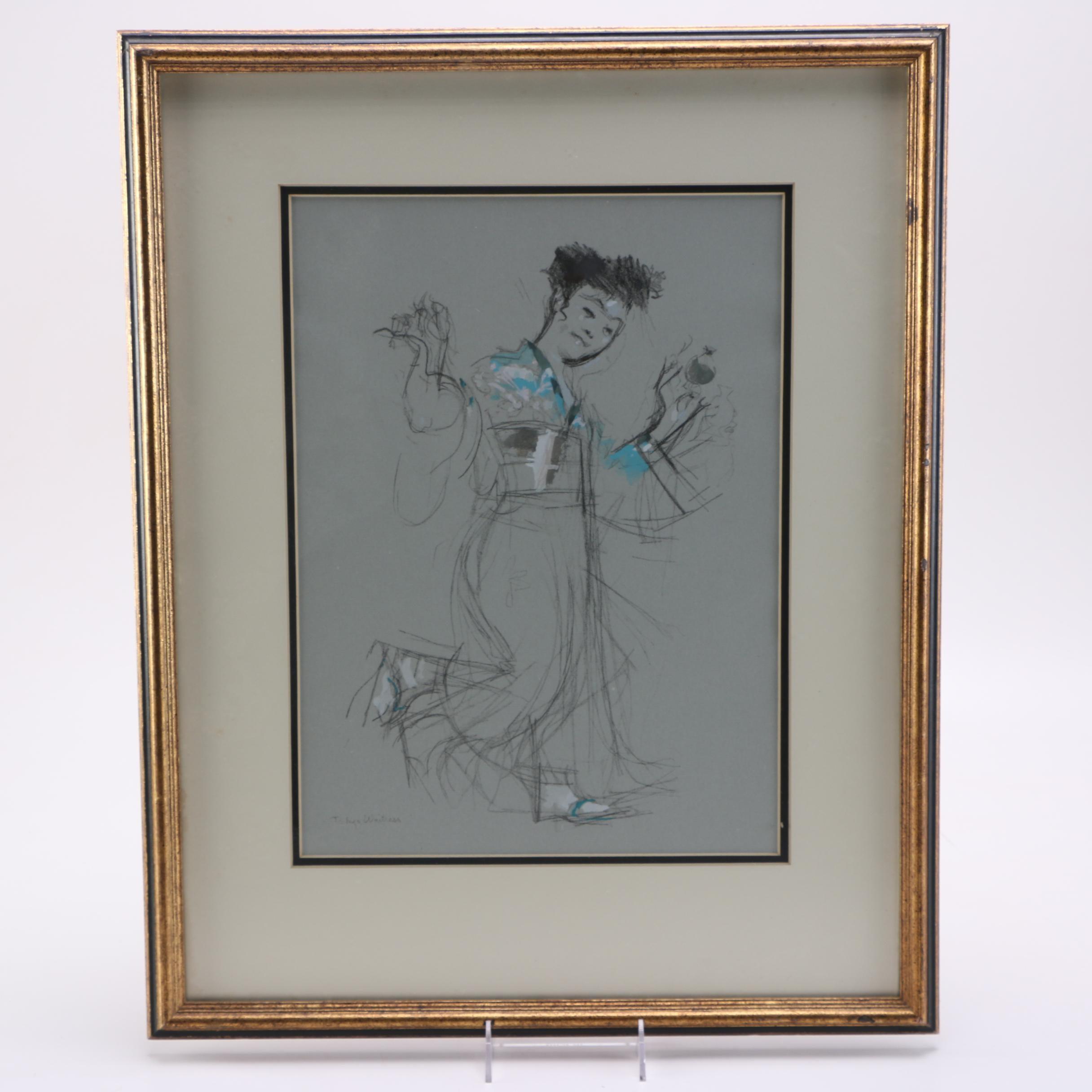 "Jack Levine Mixed Media Drawing ""Tokyo Waitress"""