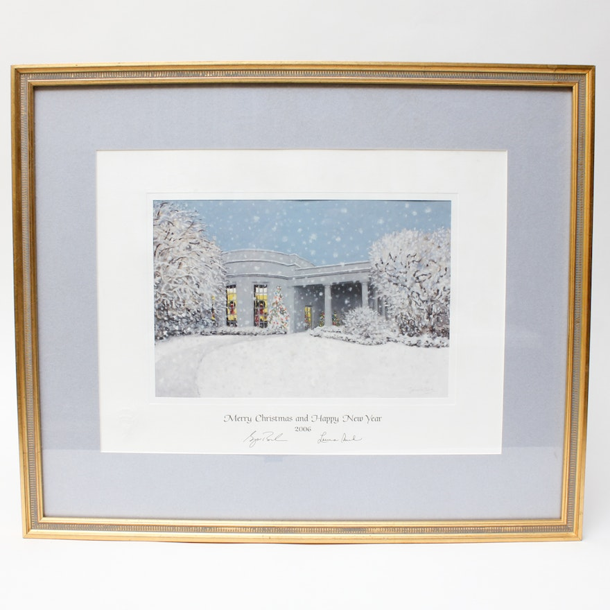 Framed and Facsimile Signed 2006 White House Christmas Card : EBTH