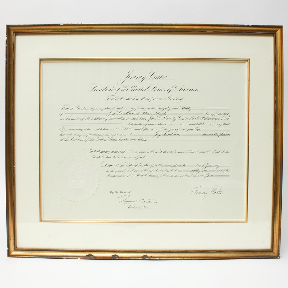 Framed and Signed Jimmy Carter Presidential Greeting